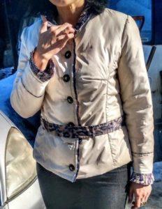 куртка из плащевой ткани с отделкой японским шёлком